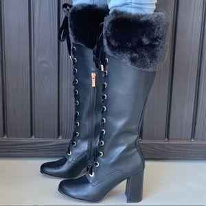 High Noon Fur Collard Lace Up Block Heeled Boot